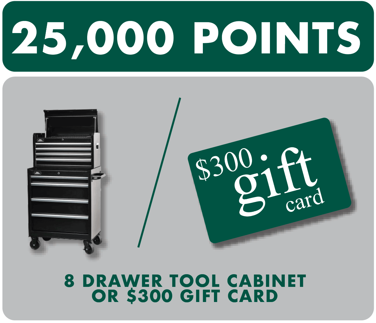 $300 gift card or tool cabinet prize
