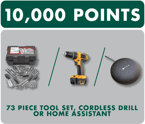 tool set, drill, or home assistant prizes